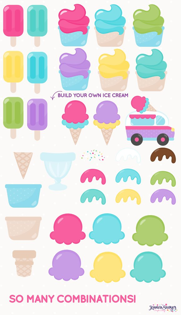The Ultimate Ice Cream Clipart Pack in Illustrations - product preview 1