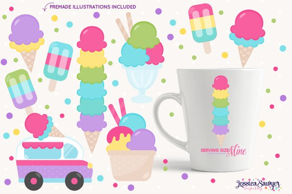 The Ultimate Ice Cream Clipart Pack in Illustrations - product preview 3