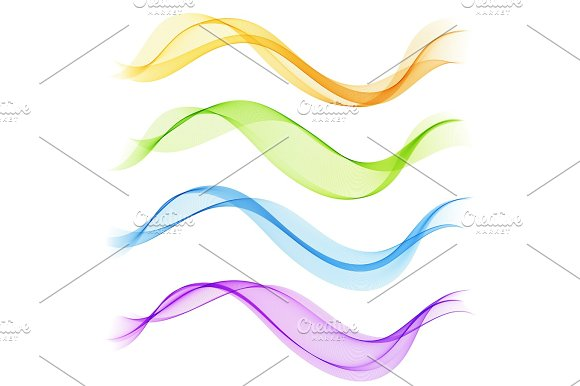Set Abstract Color Smoke Wave Transparent Wave Abstract Smooth Vector Lines