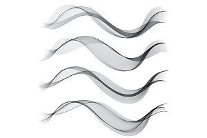 Set abstract color smoke wave. Transparent wave. Abstract smooth Vector lines.