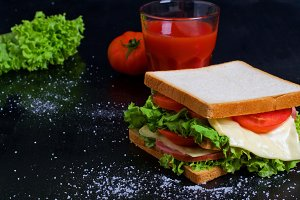 Sandwich on a dark background