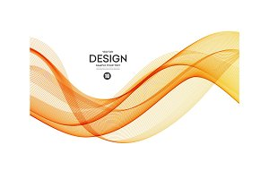 Abstract vector background, orange wavy