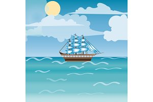 Three masted sailing ship frigate transport