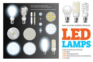 Led Lamps Realistic Set
