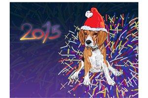 Beagle wear christmas hat