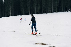 Ski running in the winter Forest