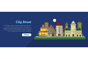 Night City Street Day Flat Vector Banner