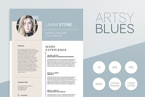 Artsy Blues Resume Template