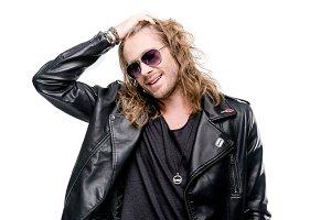 rocker in black leather jacket