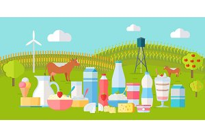 Milk Production Banner. Traditional Dairy Products