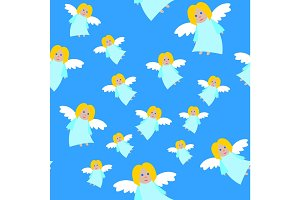 New Year Angels in Blue Dresses Seamless Pattern