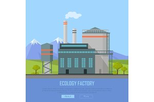 Ecology Factory Web Banner. Eco Manufacturing
