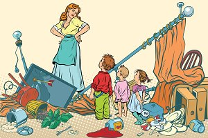 Terrible mother and the kids made a mess at home
