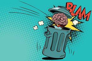 human brain is thrown in the trash