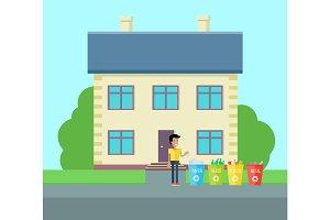 Sorting Household Trash Concept Illustration.