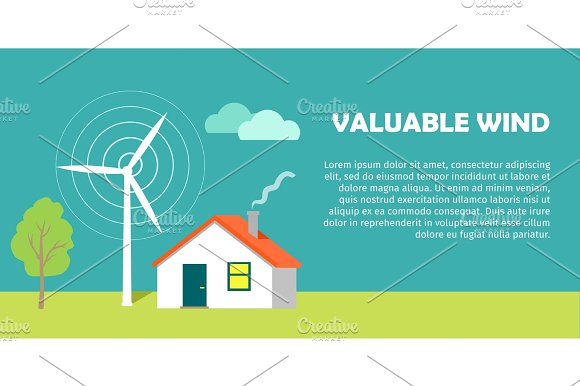 Valuable Wind Conceptual Flat Style Vector Banner