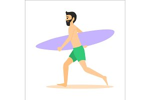 Surfer run with surfboard