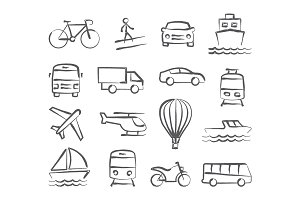 Transport doodle icons