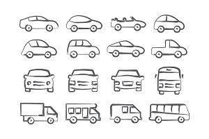 Car doodle icons