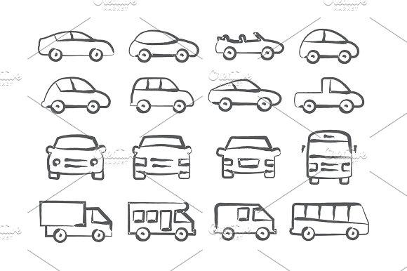 Car doodle icons