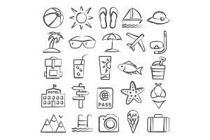 Summer Doodle Icons