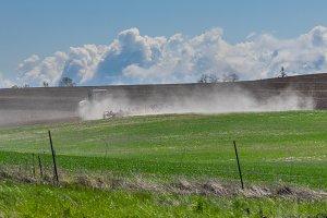 Tractor raises dust