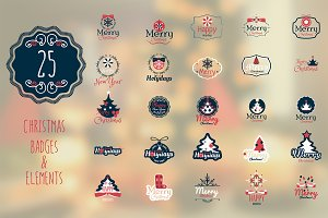 25 Christmas Badges & Labels