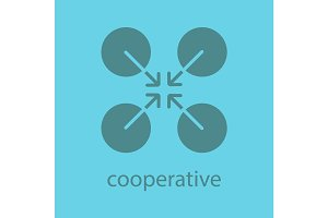 Cooperative abstract symbol. Glyph color icon