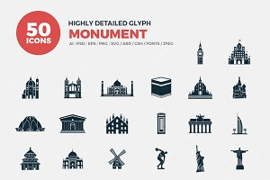 Glyph Icons Monuments Set