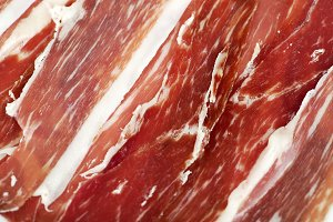Close-up of ham. Spanish typical food.