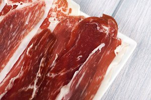 Close-up of ham. Spanish typical food. Copy space.