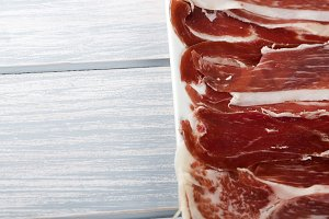 Close-up of a ham dish. Spanish typical food. Copy space.