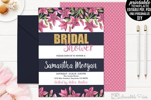 Coral Flowers Bridal Shower Invite