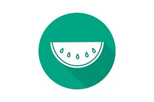 Watermelon slice flat design long shadow icon