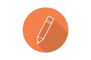Pencil with eraser. Flat linear long shadow icon