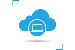 Cloud storage laptop icon