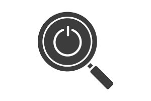 Magnifying glass with turn off button glyph icon