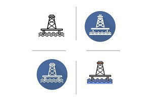 Offshore sea well icon