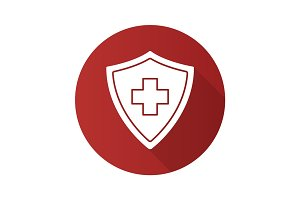 Medical insurance flat design long shadow icon
