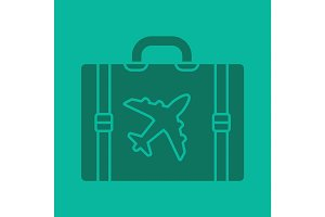 Travel luggage suitcase glyph color icon