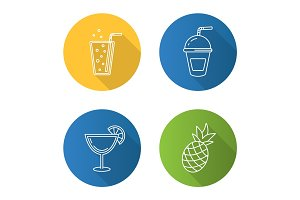 Refreshing drinks flat linear long shadow icons set