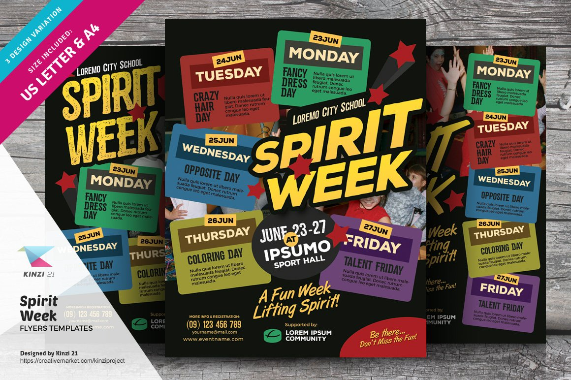 spirit week flyer templates flyer templates creative market