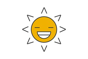 Smiling sun color icon