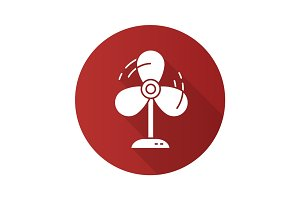 Fan flat design long shadow icon