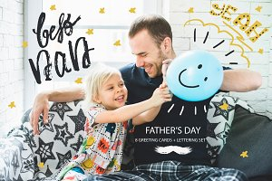 Father's Day|Lettering Set + Cards