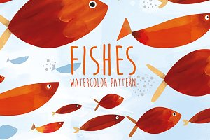 Fishes, watercolor pattern