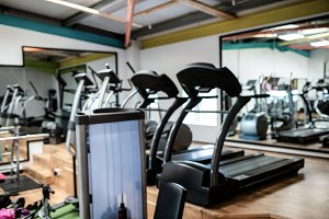 View of empty gym equipment