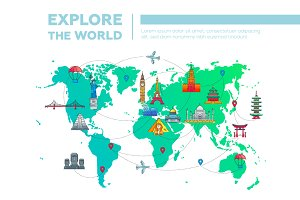 Landmarks Map - Travel Illustration