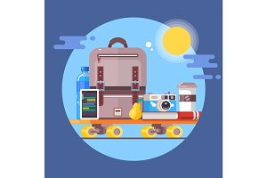 Vacation travelling concept.Summer vacations holiday poster.Flat vector illustration
