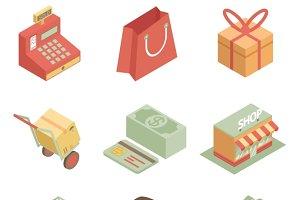Isometric shopping icons